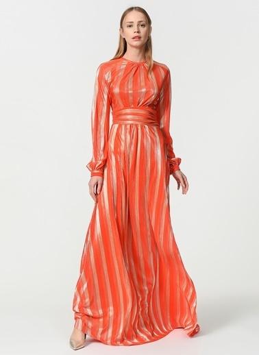 Mizalle Varaklı Elbise  Oranj